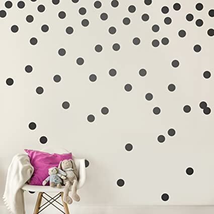 Black Wall Decal Dots (200 Decals) | Easy Peel & Stick + Safe on Walls  Paint | Removable Matte Vinyl Polka Dot Decor | Round Circle Art Glitter