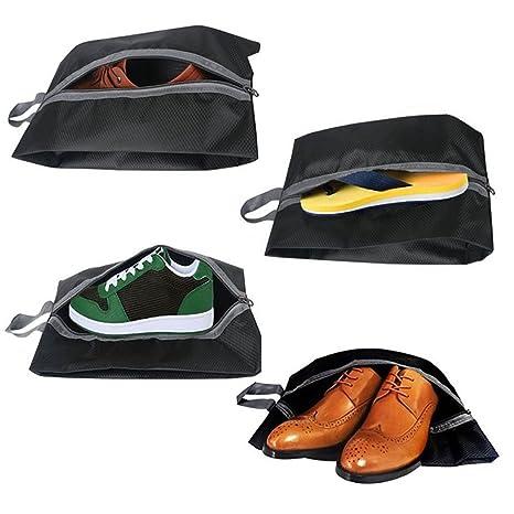 Dricar Bolsas para Zapatos - 4 Pack Bolsa para Guardar Zapatos de Viaje Nylon Resistente al Agua con la Cremallera para los Hombres y de las Mujeres(Negro) z6zKjiqWBY
