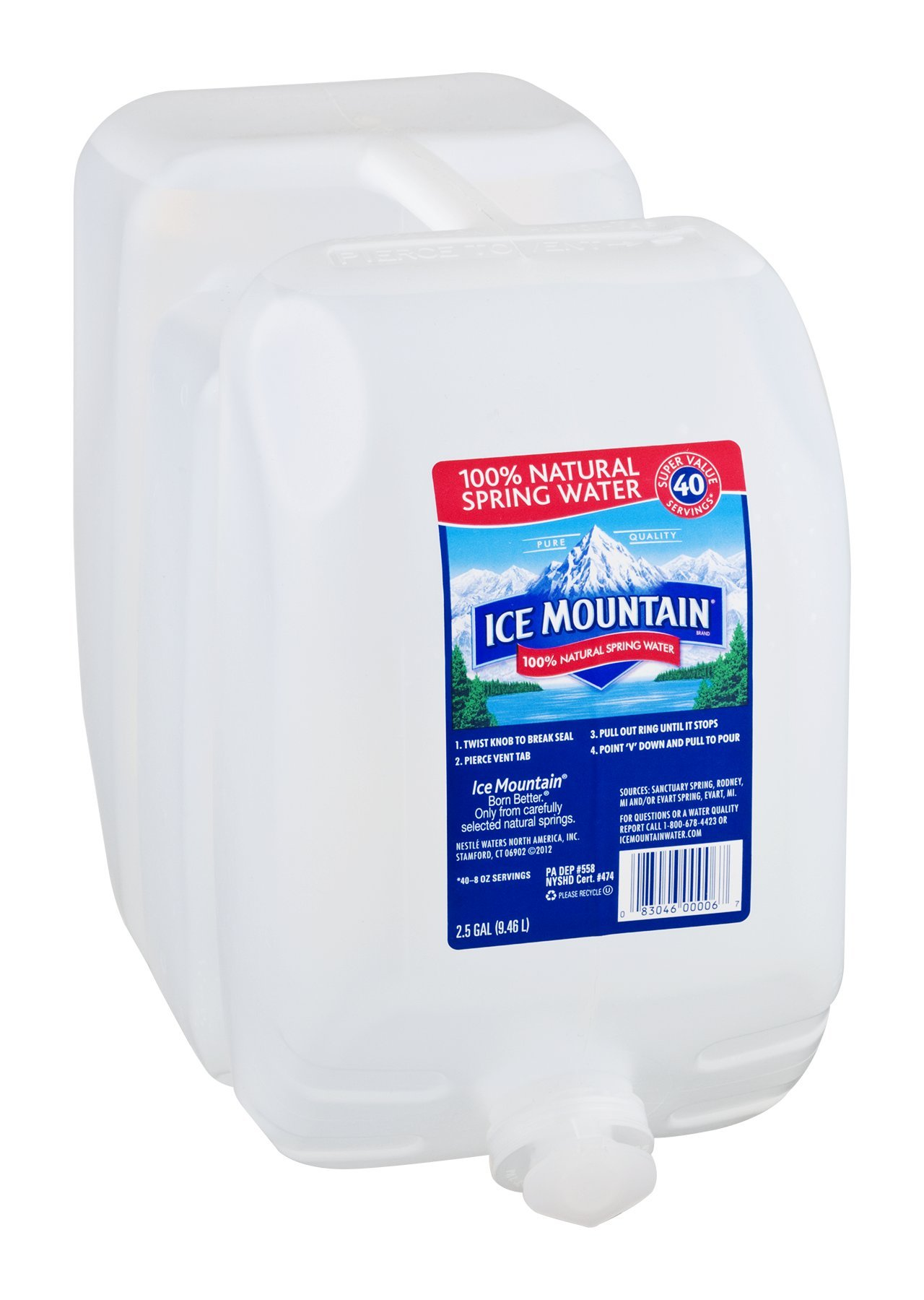 Ice Mountain 100% Natural Spring Water 320 OZ (Pack of 2)