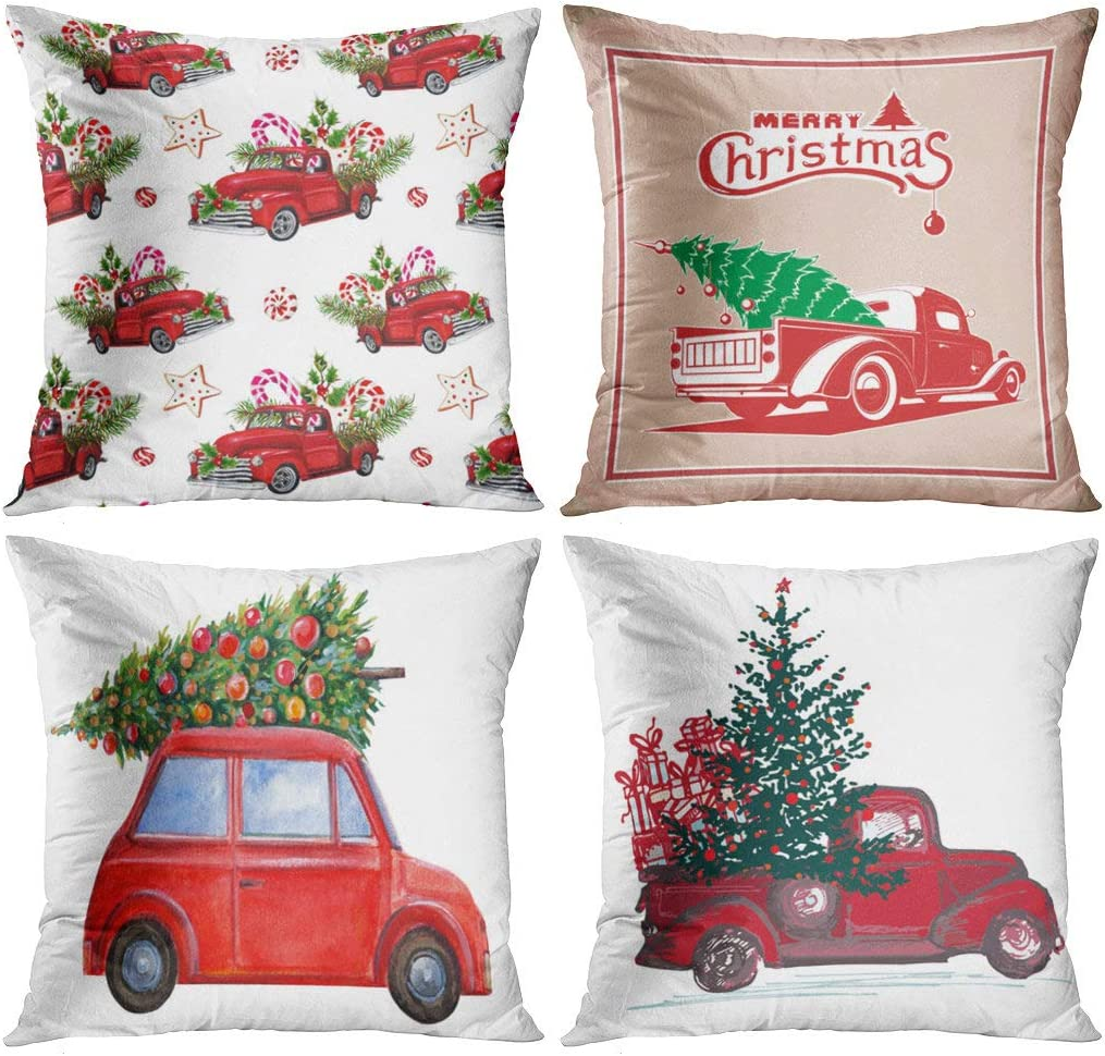 Suike Set of 4 Throw Pillow Covers 20x20 Inch Christmas Square Watercolor Festive New Year Red Truck Fir Tree Decorated Toy Model Sweets Spruce Home Sofa Decorative Cushion Polyester Pillowcase