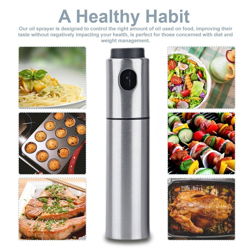 Oil Sprayer for Cooking Olive Vinegar Bottle EMSIN Bbq Air Fryer Making Salad Refillable Essential Oil Non Aerosol Clog Free Pressure Pump Dispenser Stainless Steel Olive Oil Bottle Sprayer by EMSIN (Image #7)