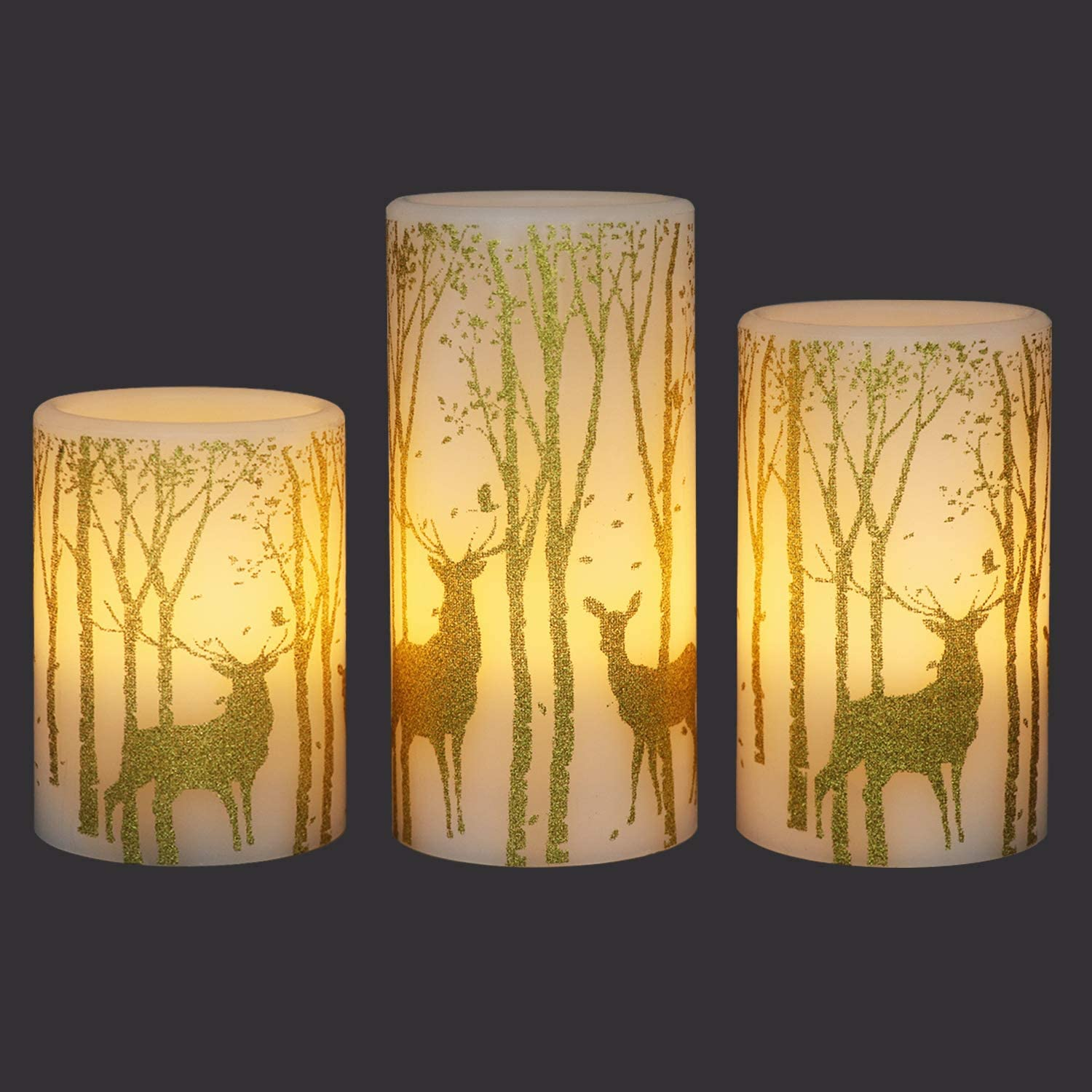 GenSwin Flickering Flameless Candles Battery Operated with 6 Hours Timer, Real Wax Led Pillar Candles Deer Decal Warm Light, Pack of 3 Christmas Home Decor