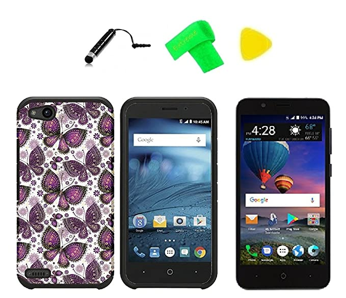 promo code b1dbf 5836c Slim Hybrid Cover Phone Case + Screen Protector + Extreme Band + Stylus Pen  + Pry Tool For ZTE ZFive GC Z557BL Z558VL (Slim Violet Butterfly)