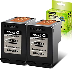GREENCYCLE Remanufactured 62XL 62 XL Black Ink Cartridge Replacement Compatible for HP Envy 5540 5640 5660 7644 7645 OfficeJet 5740 8040 OfficeJet 200 250 Series Printer (2 Pack)