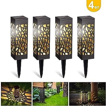 Kefflum 4x Lámpara solar LED para jardín, lámpara de jardín para exterior, luz blanca cálida, resistente al agua IP55,lámpara solar decorativa para terraza, jardín, césped, patio: Amazon.es: Iluminación