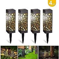Kefflum 4x Lámpara solar LED para jardín, lámpara de jardín para exterior, luz blanca cálida, resistente al agua IP55,lámpara solar decorativa para terraza, jardín, césped, patio