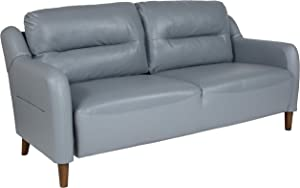 Flash Furniture Newton Hill Upholstered Bustle Back Sofa in Gray LeatherSoft