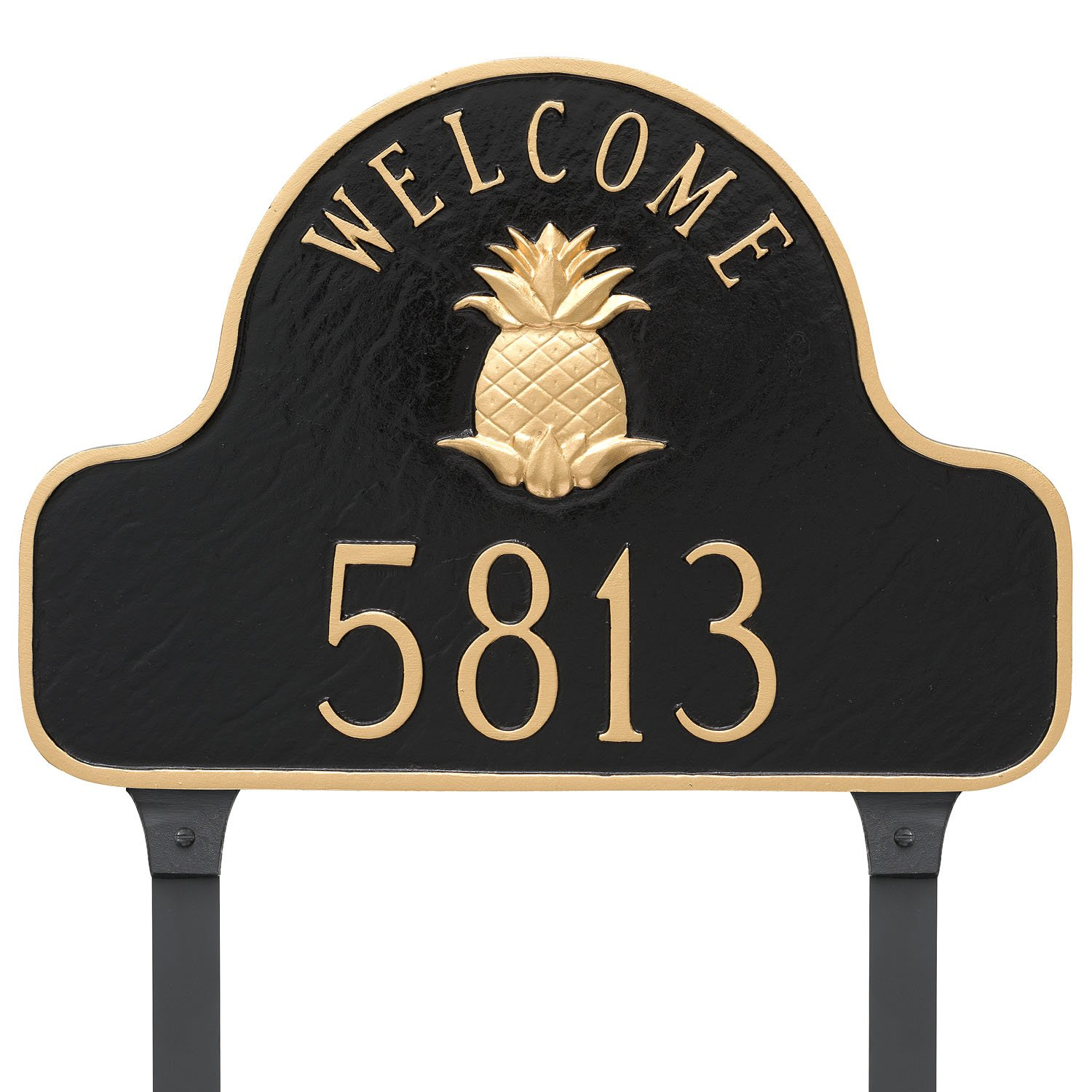 Montague Metal Pineapple Welcome Arch Full Address Sign Plaque with Lawn Stakes, 11'' x 16'', Chocolate/Gold