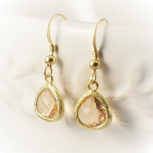 a44e2b2d9 Amazon.com: Peach Champagne Earrings, bridesmaid earrings blush gold, peach  Champagne Bridesmaid Earrings, champagne earrings, peach earrings, ...