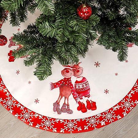 ZXYWW 48 Pulgadas Falda del Árbol De Navidad Blanco Y Rojo, Nuevo ...