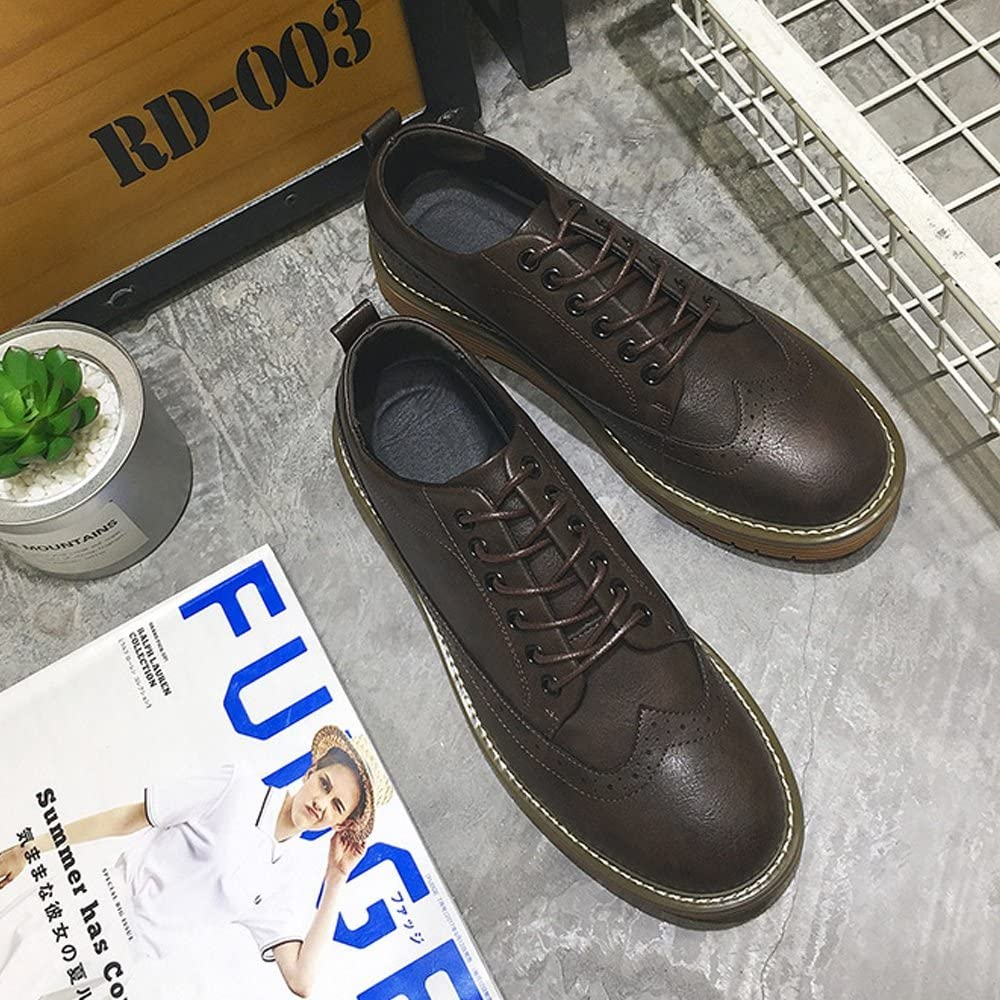 Douhuayu Mens Lace up Loafers Shoes Breathable PU Leather Casual Business Soft Outsole Flats Oxfords