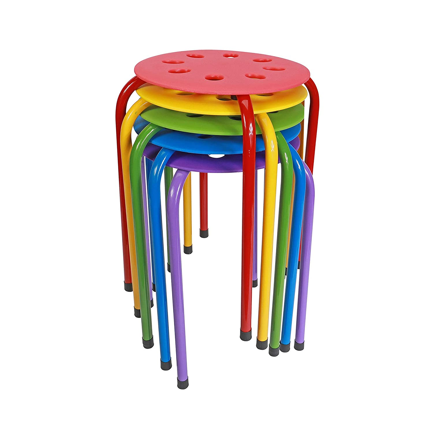 Pearington Plastic Stackable Stools, Multipurpose Stool Chairs for Schools, Offices, and Kitchen, Flexible Seating - Set of 5, Multi-Color