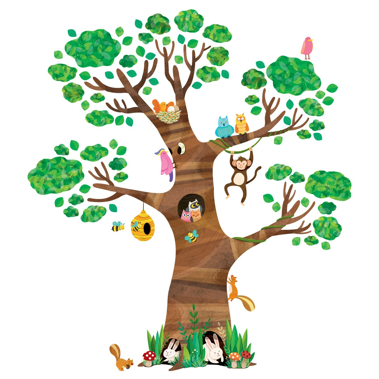 Decowall DL-1709 Giant Tree and Animals Kids Wall Decals Wall Stickers Peel and Stick Removable Wall Stickers for Kids Nursery Bedroom Living Room by Decowall