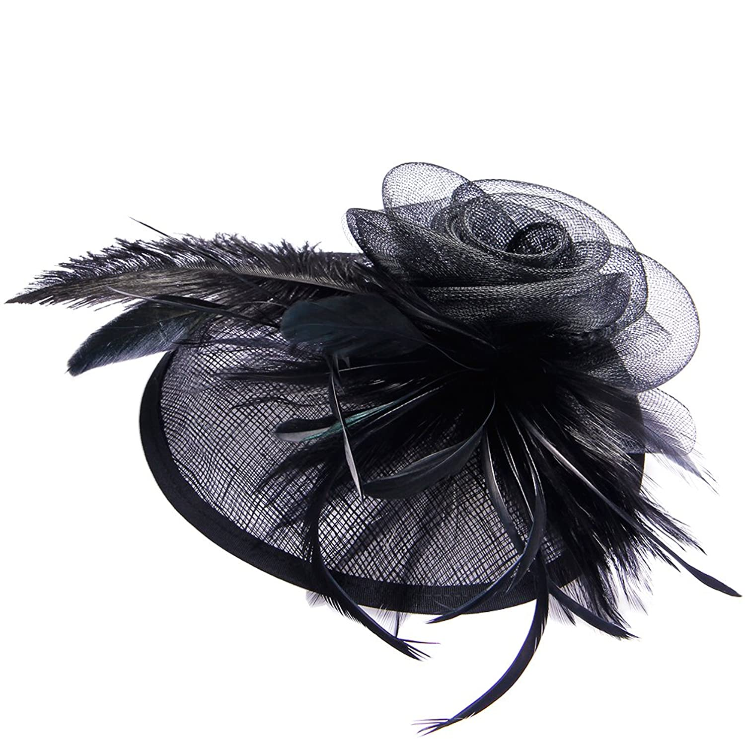 1950s Style Hats for Sale Valdler Womens Feather Mesh Net Sinamay Fascinator Hat with Hair Clip Tea Party Derby $12.99 AT vintagedancer.com
