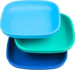 "product image for Re-Play Made in USA 3pk - 7.37"" Plates with Deep Sides for Easy Baby, Toddler, Child Feeding - Sky Blue, Aqua, Navy Blue (True Blue Collection) Eco Friendly Heavyweight Recycled Polypropylene"