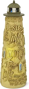Lighthouse Shines in The Darkness LED Light-up 8 x 4 inch Resin Stone Table Top Figurine