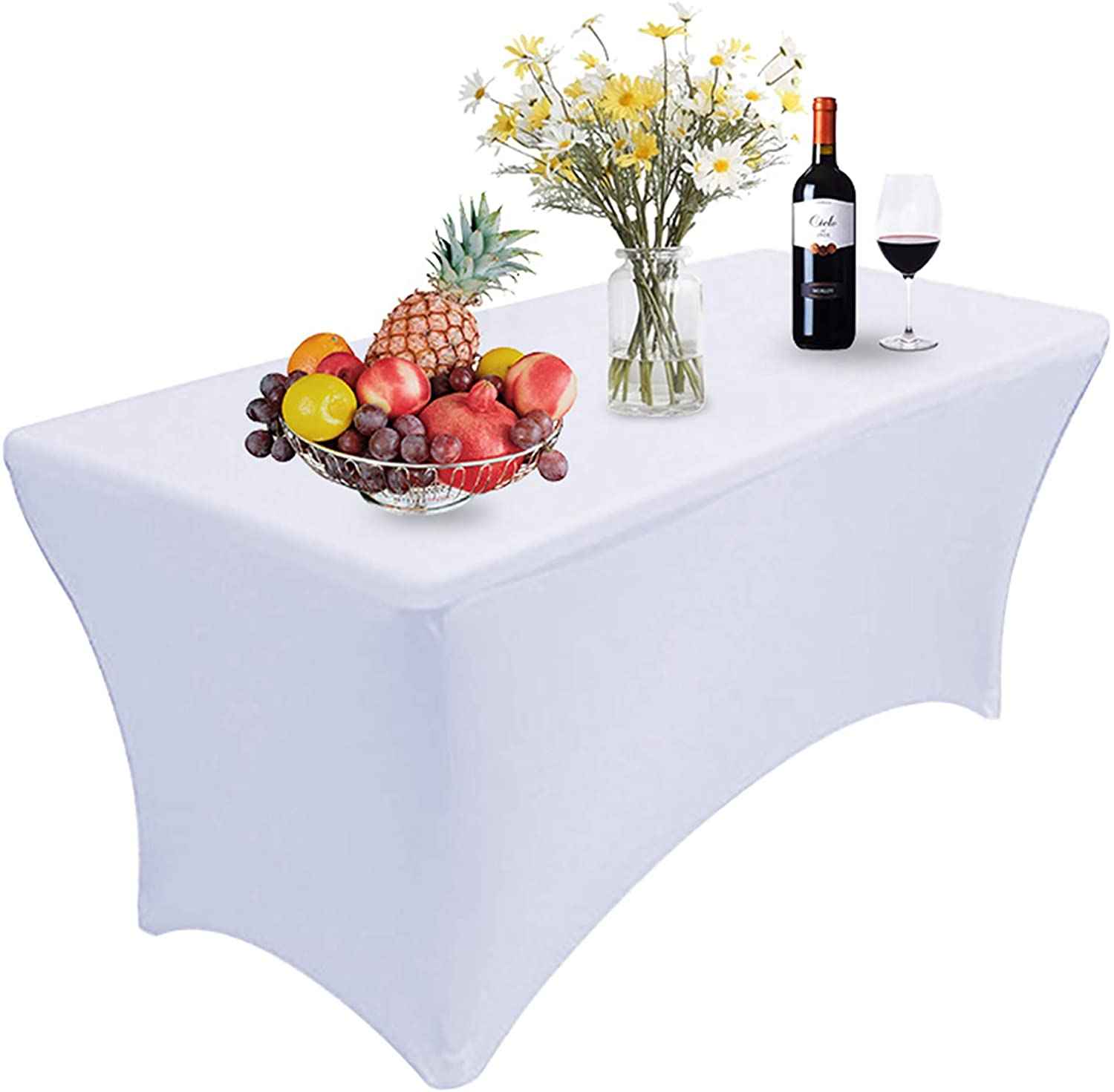 Reliancer 1 Pack 4FT Rectangular Spandex Table Cover Four-Way Tight Fitted Stretch Tablecloth Table Cloth for Outdoor Party DJ Tradeshow Banquet Vendor Wedding Celebration (1PC 4FT, White)