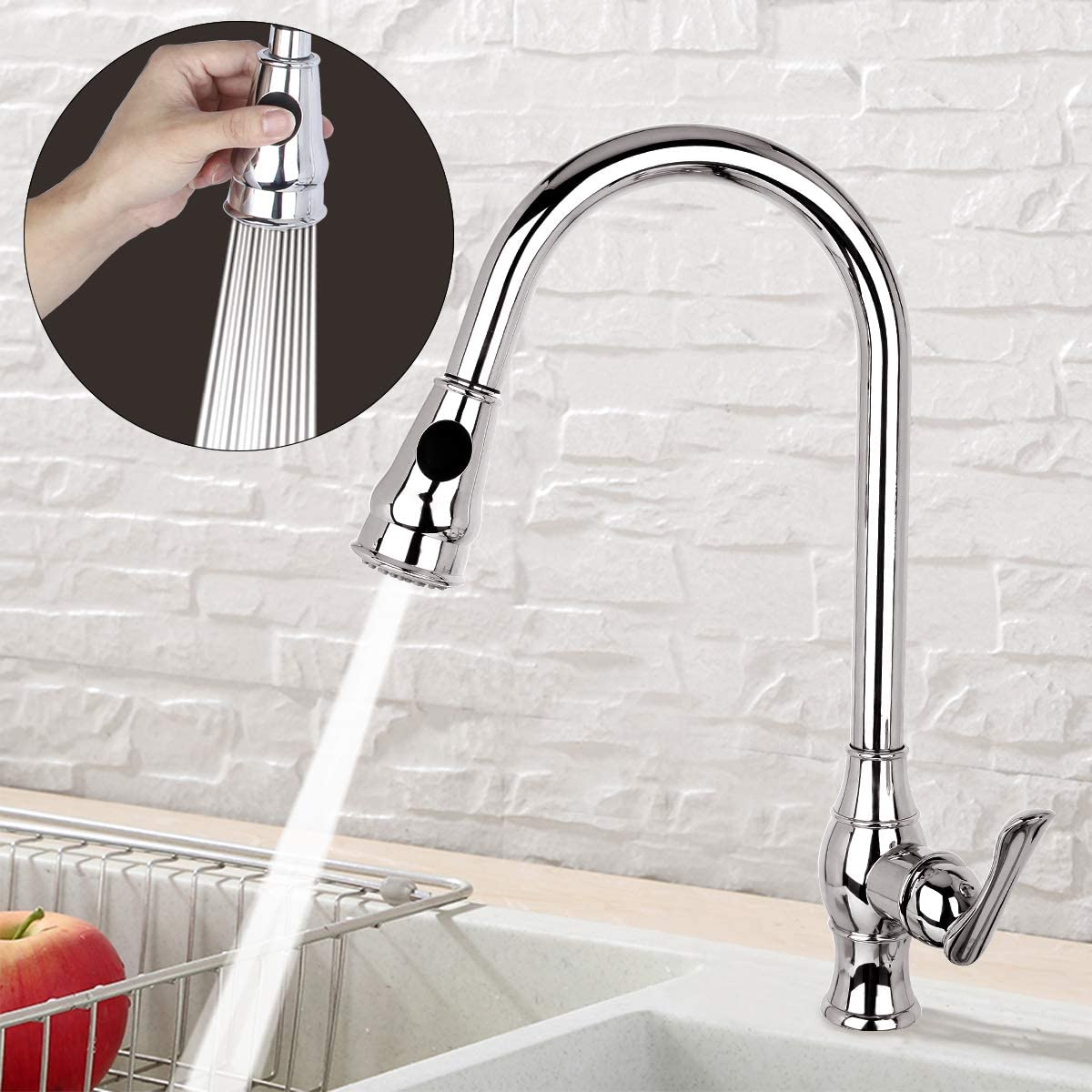 Lexqui High Arc Polished Chrome Single Handle Stainless Steel Kitchen Sink Faucet with Pull Down Sprayer