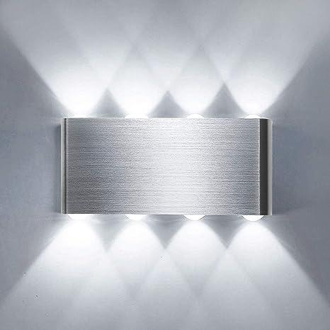 Lightess 8W Applique da Parete Interni Lampada a Muro Applique LED Moderne  in Metallo per Decorazione Soggiorno Camera da Letto Bagno Colore Bianco ...