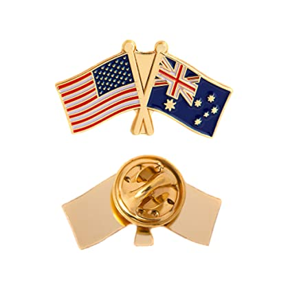 83077a410ab Amazon.com  Australia Country Double Flag Lapel Pin Enamel with United  States USA US Made of Metal Souvenir Hat Men Women Patriotic Australian   Arts