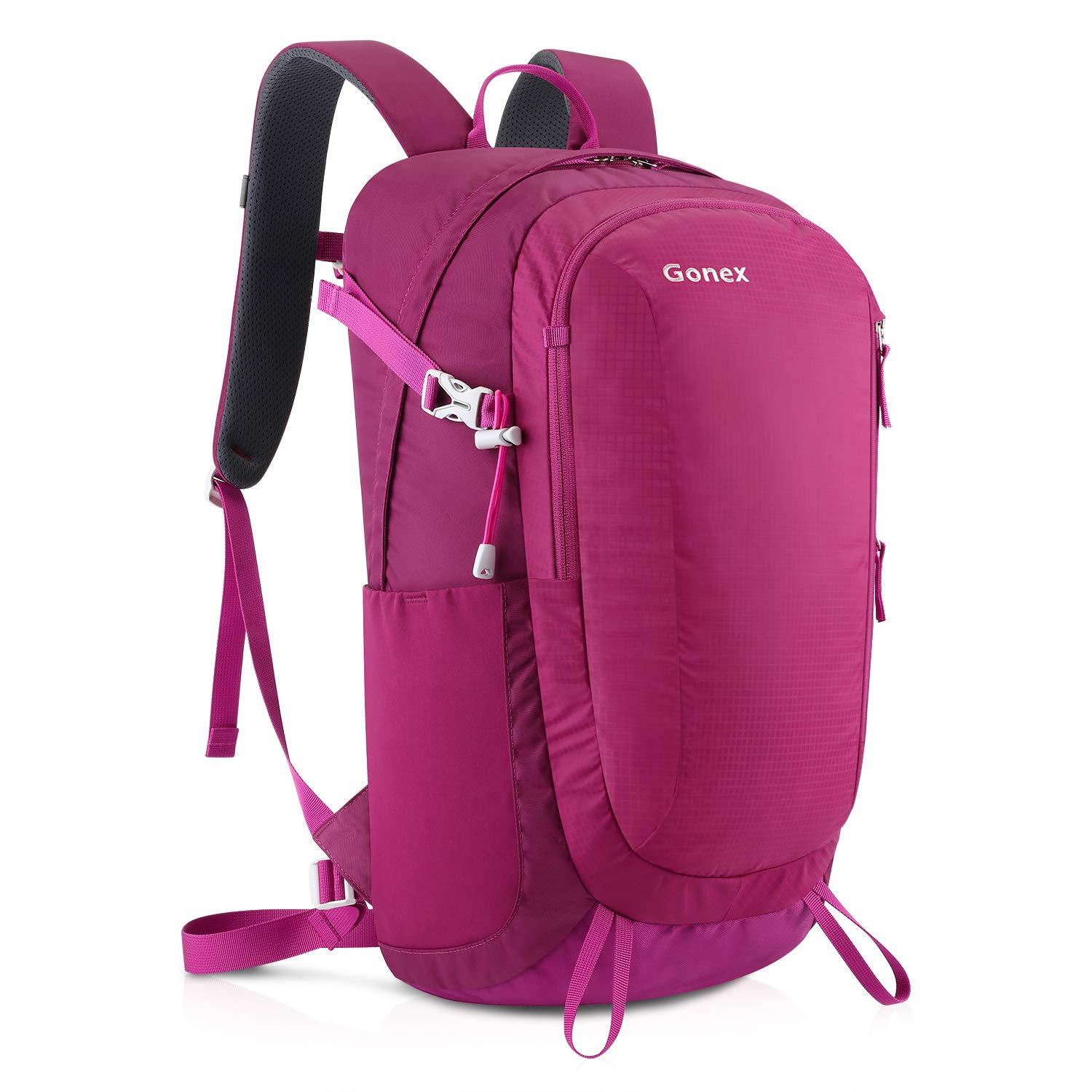 Gonex 30L Hiking Backpack Outdoor Travel Backpack Lightweight Water-Repellent Day Pack Rose red