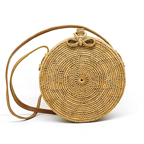 Javacrafts Handwoven Rattan Bag Round Circle Tropical Style