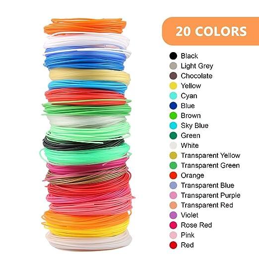 OOOUSE 20 Colores PLA 3D Pen Filamento Recambios, 1.75 mm ...