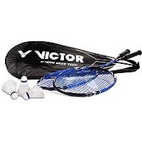 Victor V-4000 Wave Tech Raquette de Badminton Bleu ou Rouge, à l'unité ou Set de 2 Raquettes et 3 Volants en Nylon