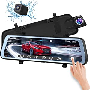 CHICOM 10 inch Dash Cam Mirror Full Touch Screen Backup Camera Dash Cam Front and Rear Dual Camera 1080P HD Rear View Camera G-Sensor, Loop Recording, Time-Lapse(V21)