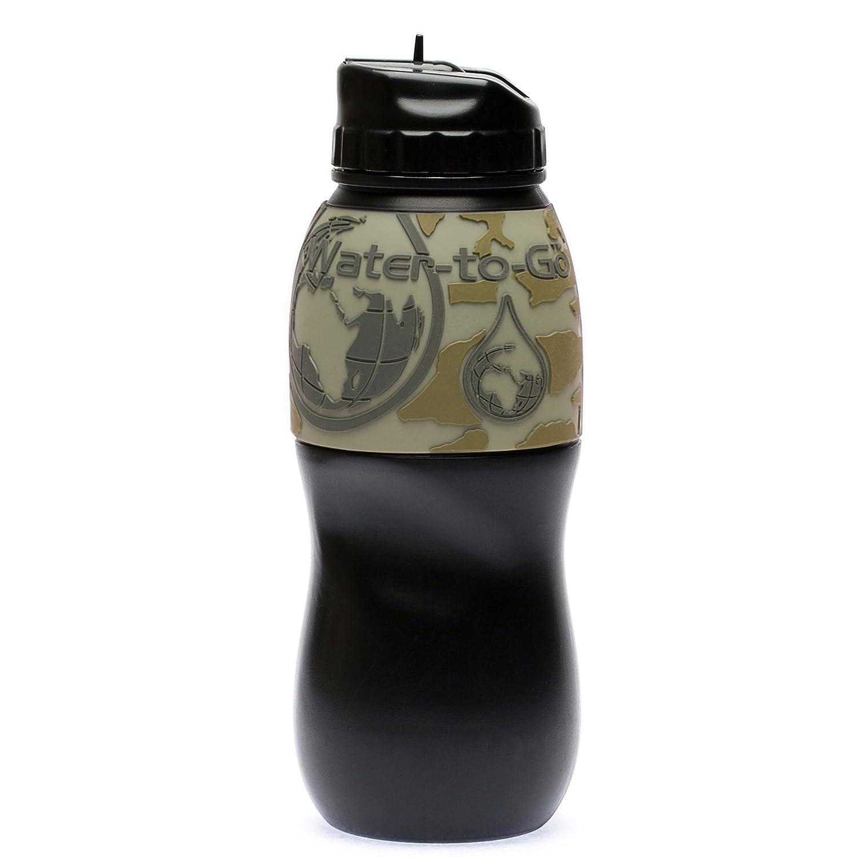 """Botella de filtro de purificación de agua–elimina contaminantes por 99,9%–Desarrollado por la Programa Espacial de Estados Unidos """"NASA tecnología"""", Black/Hot Pink, medium Water-to-Go"""