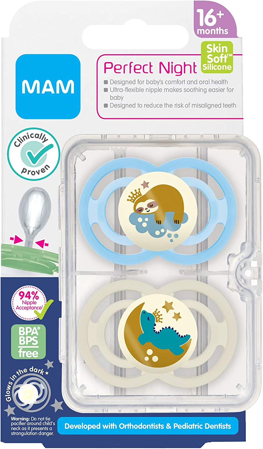 Glow in the Dark Pacifiers 2 Pack Baby Boy Pacifier MAM Perfect Night Pacifiers Pacifiers 16 Plus Months Best Pacifier for Breastfed Babies