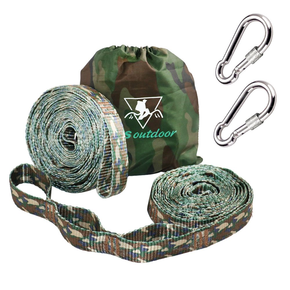 pys XL Hammock Straps - 10ft Camo Tree Straps, 20+1 Adjustable Loops, 2 Carabiners Included with 400lbs Fit for Any Hammocks, Use Tree-Friendly for Adventure, Hiking and Backpackiang (Camo)