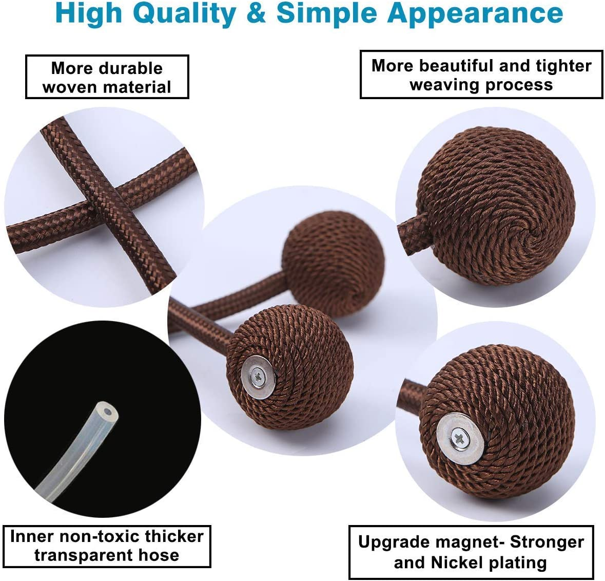 Beige, 6pcs Gika R Magnetic Drapery Curtain Tiebacks Holders and for Home Classic Decoration