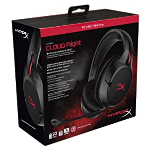 HyperX Cloud Flight - Wireless Gaming Headset, Battery Lasts Up to 30 hours of Use, Detachable Noise Cancelling Microphone, Red LED Light, Bass, Comfortable Memory Foam, PS4, PC, PS4 Pro (Renewed) (Color: Black, Tamaño: Gaming)
