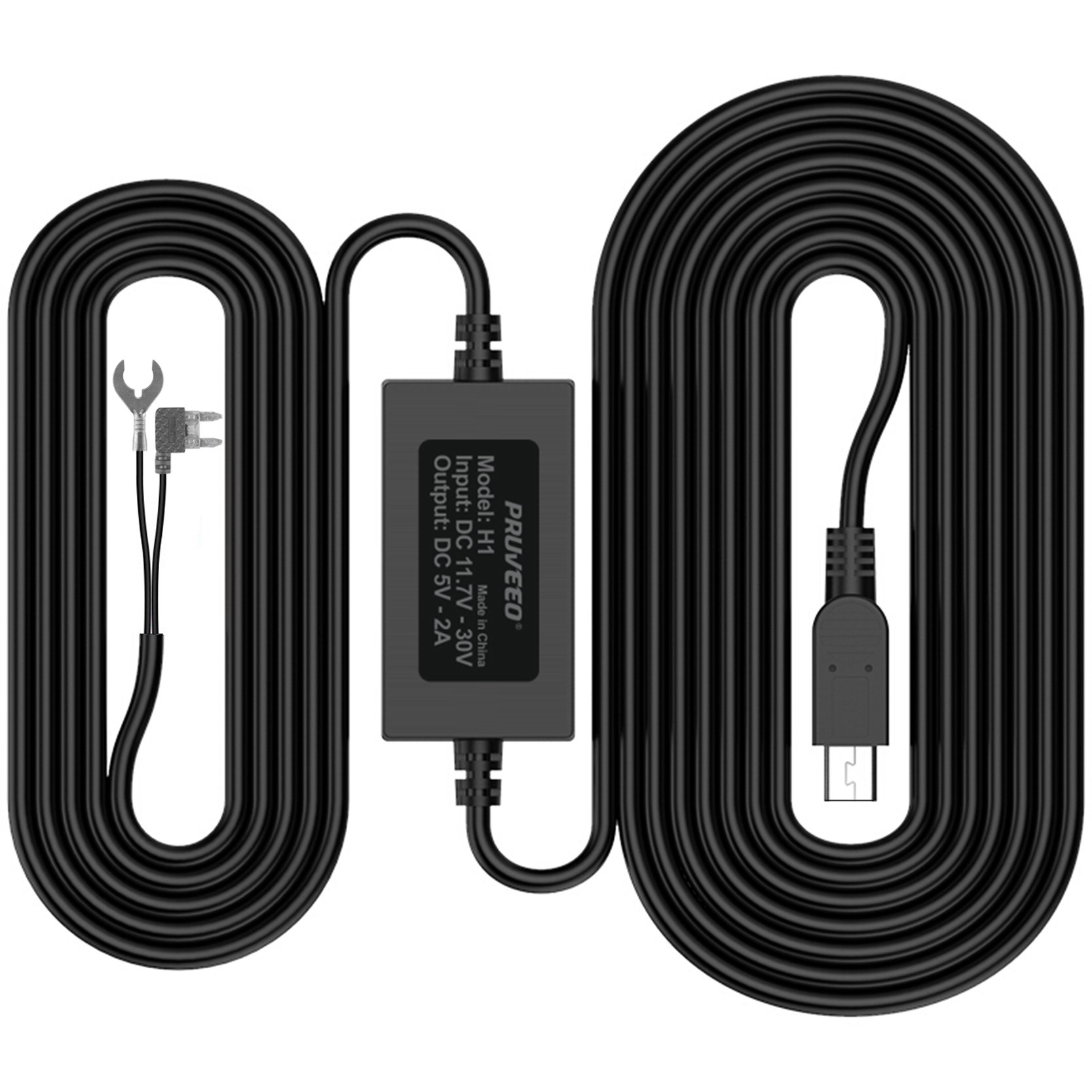 Pruveeo Hard Wire Kit for Dash Cam, Mini USB Port, 12V to 5V, DC 12V - 30V Car Charger Cable Kit