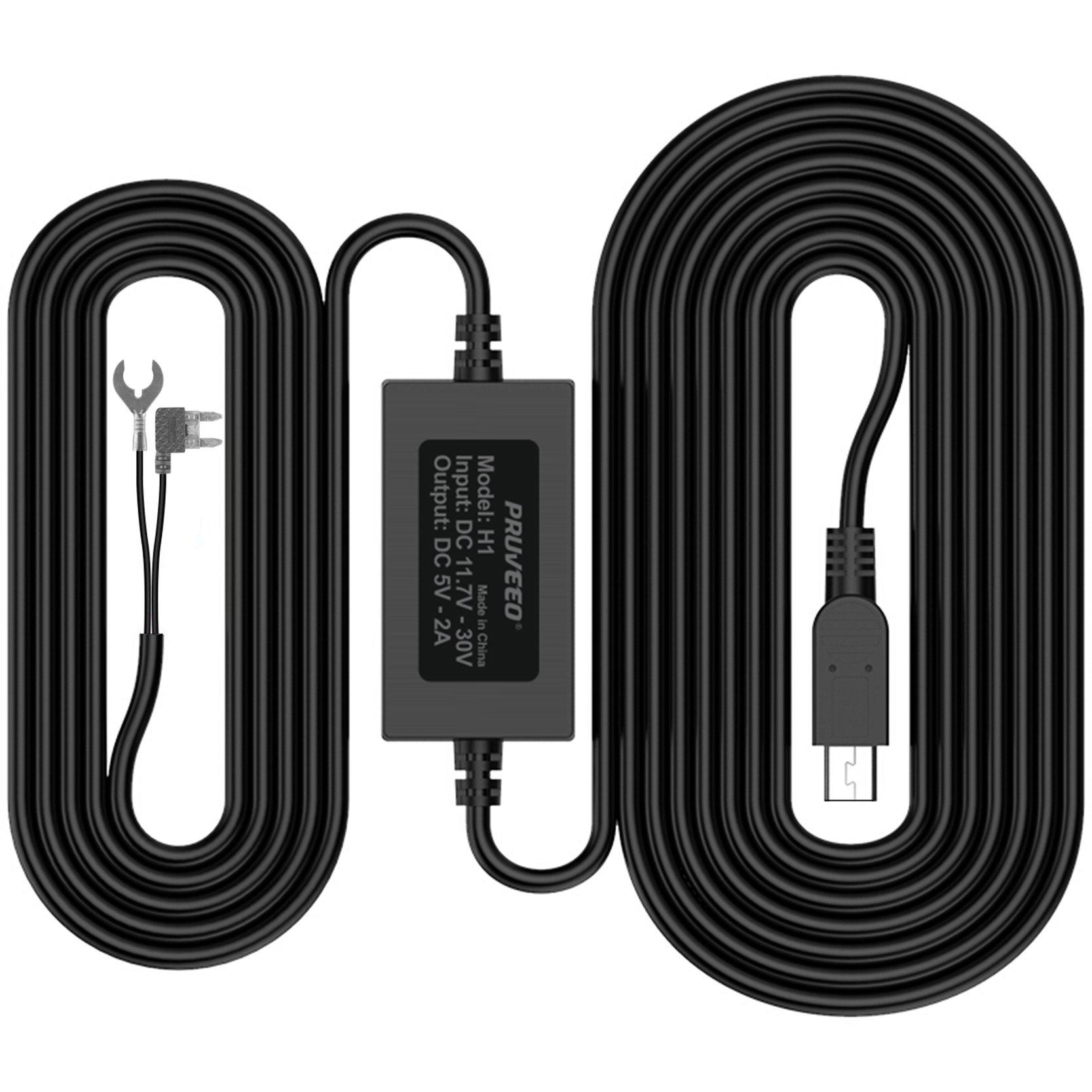 Pruveeo Hard Wire Kit for Dash Cam, Mini USB Port, 12V to 5V,