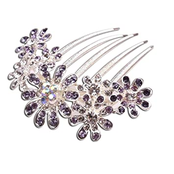 Delicate Charming Women s Bridal Wedding Crystal Rhinestones Decor Flower  Design Hair Comb Clip Hair Pin ( 1af9d9309cff