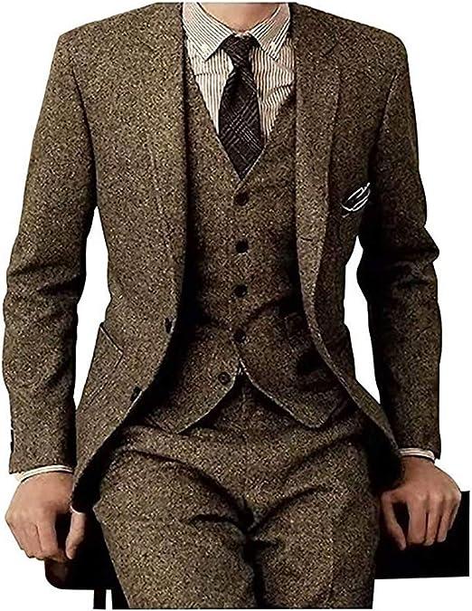 Amazon.com: NewStyle - Traje de lana marrón para hombre ...