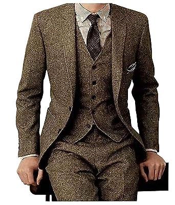 804ca1bbda3 NewStyle Tweed Wool Brown Herringbone Men Suit British Style Modern Fit  Blazer 3 Pieces Men Suits (Jacket+Pants+Vest) at Amazon Men s Clothing store