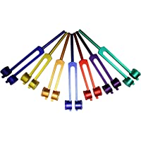 Radical Colored Coded Therapeutic Weighted Chakra and Soul Healing Tuning Forks w Long Holding Stem in Velvet Storage…