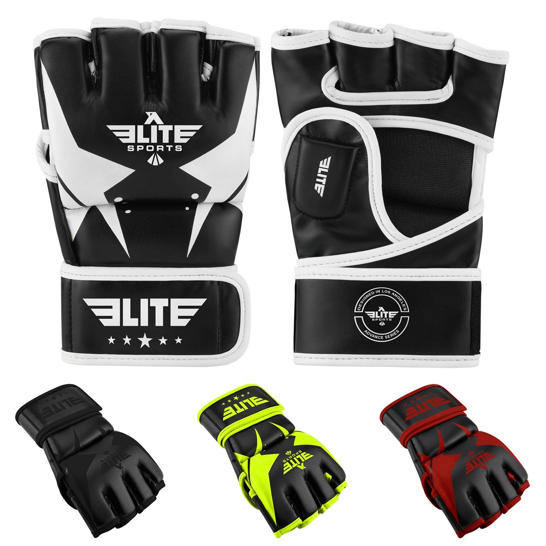EliteスポーツPro Style MMA Half Mitts Grappling Gloves B07BB54F6J Large/X-Large|ブラック/ホワイト ブラック/ホワイト Large/X-Large
