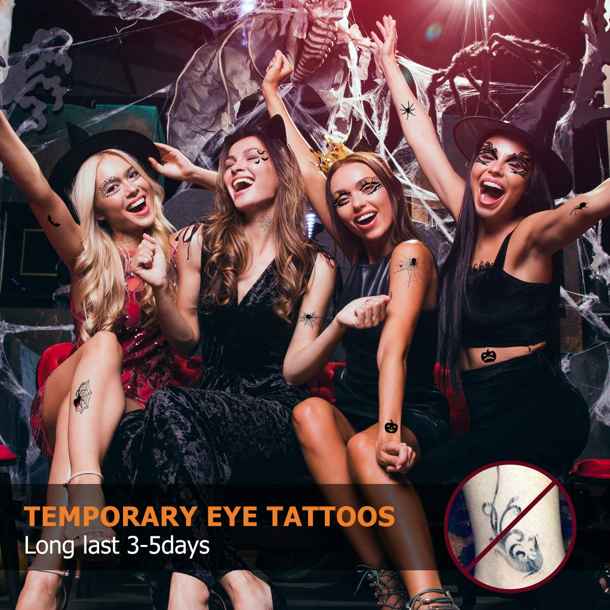 Temporary Tattoos, 11 Eye Fake Tattoos and 2 Spider Temporary Stickers for Full Body Decals