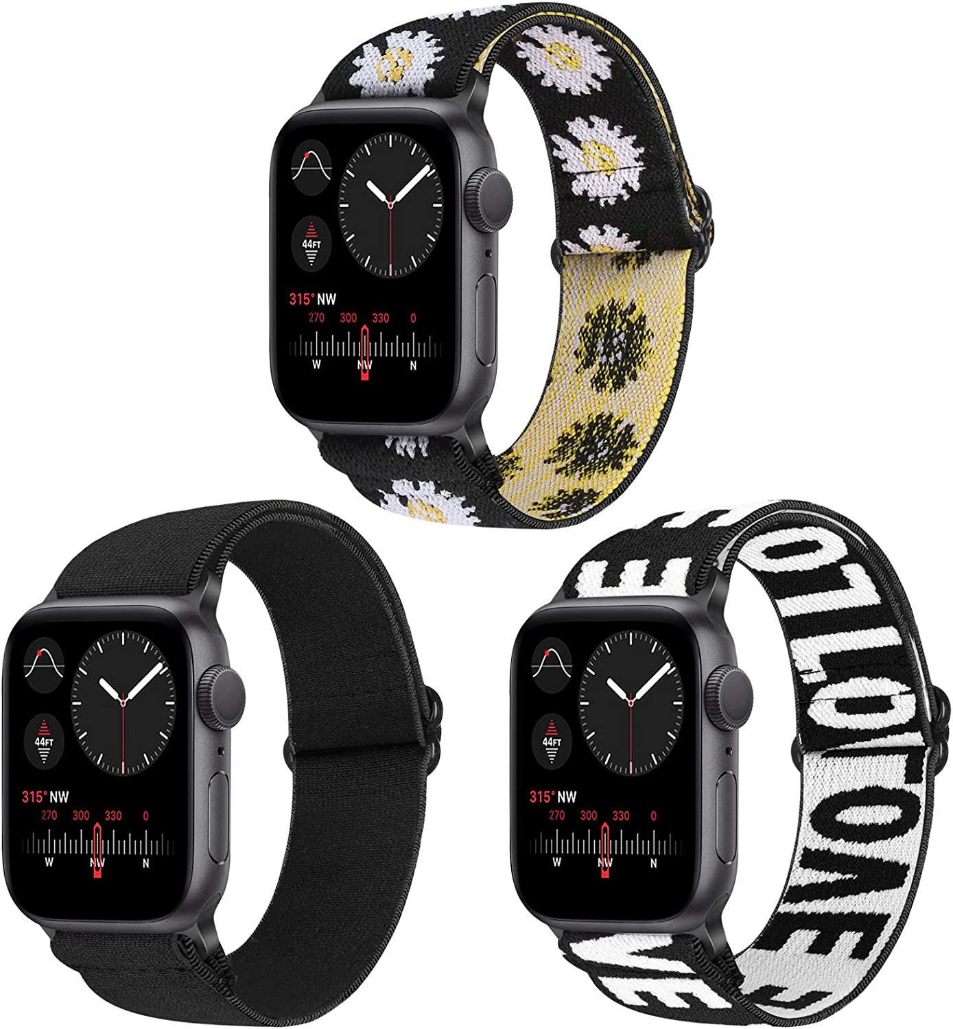 Vodtian Nylon Loop Elastic Watch Band Compatible with Apple Watch 38mm 40mm, Women Men Adjustable Replacement Sport Straps for iWatch Series 6/5/4/3/2/1/SE (Black+LOVE+Sunflower, 38mm/40mm)