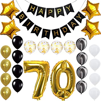Amazon Happy 70th Birthday Banner Balloons Set For 70 Years Old