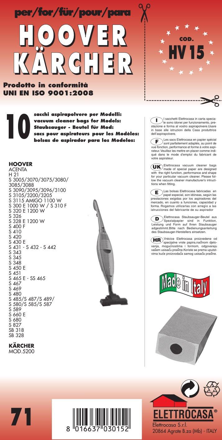 HV 15 sacchetti per scopa elettrica confezione da 10 sacchi carta elettrocasa