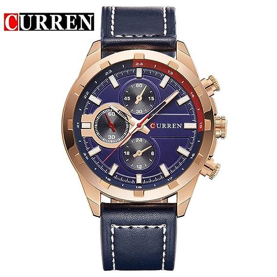 Gran oferta de reloj de pulsera de moda lujoso Curren para hombre, producto de 2017, reloj informal, de negocios 8216G: Amazon.es: Relojes