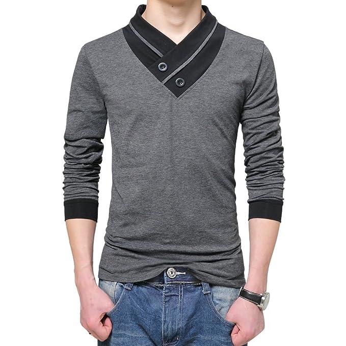 ishine Camisa Hombre Manga Larga Camisas Hombre Tallas Grandes con 2 Colores: Amazon.es: Ropa y accesorios