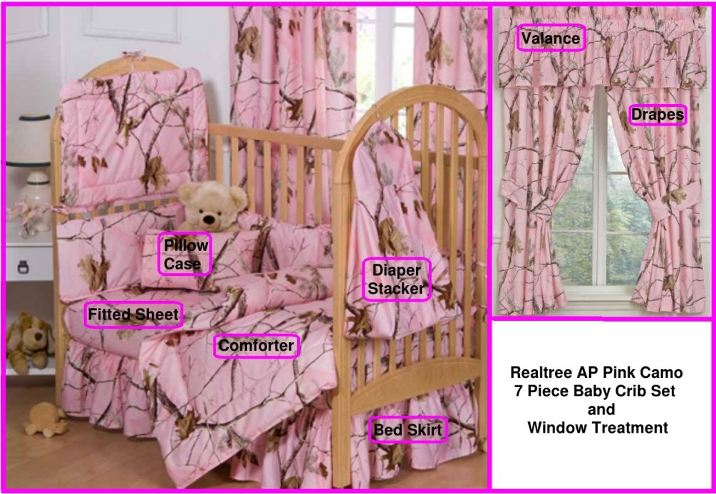 Camo Realtree AP Pink 7 Pc Baby Crib Set and Window Treatment Gift Set