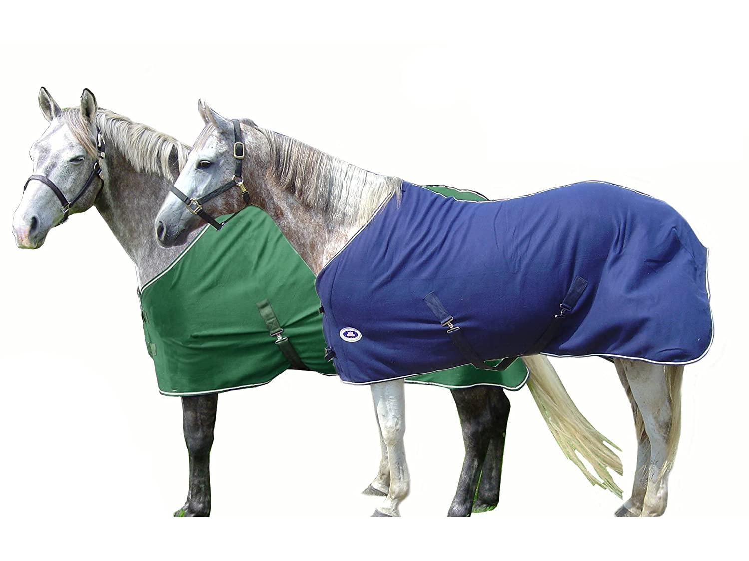 Hunter Green with Tan Trim 78\ Hunter Green with Tan Trim 78\ Derby Originals Classic Horse Fleece Predection Sheet or Blanket Liner