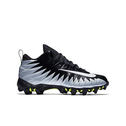 9f5fee831533 Nike Boy's Alpha Menace Shark BG Football Cleat Wide Black/Metallic  Silver/White Size
